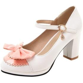 [KITTCATT] メリージェーン 靴 キラキラ靴レディース 靴ロリータ 蝶結び パンプス プラットフォーム厚底 ハイヒール 可愛いシューズ レディース靴 サイズ:(24cm,白)