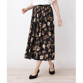 ITS' DEMO(イッツデモ) フラワーマットサテン消しプリーツスカート