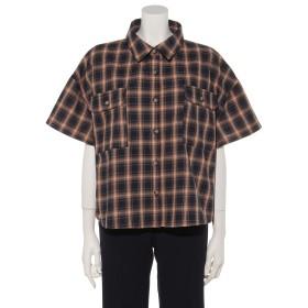 50%OFF archives (アルシーヴ) 半袖短丈チェックシャツ ネイビー