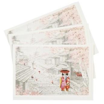 グリーティングライフ クリスマス カード 和風 ミニサンタ 3枚セット 舞妓 SJ-37-AM