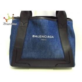 バレンシアガ BALENCIAGA トートバッグ ネイビーカバS 339933 ネイビー×黒 デニム×レザー    値下げ 20191016