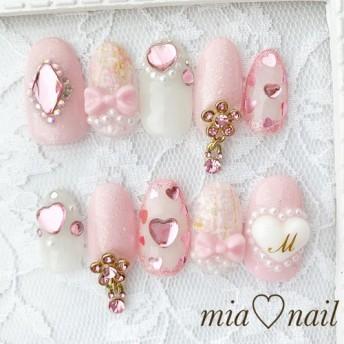 ゆめかわいい とっても可愛いピンクと花柄のチャームネイル
