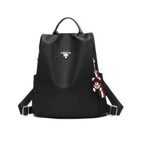 FF オックスフォード布バックパック女性韓国語バージョンファッションキャンバススクールバッグ野生の盗難防止旅行バックパック (色 : ブラック)