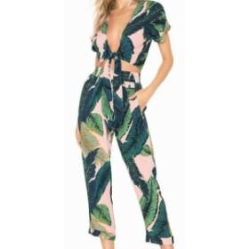 セットアップ 上下セット 半袖 レディースファッション 女性 服 オシャレ 南国風 葉 緑 柄 夏 セパレート