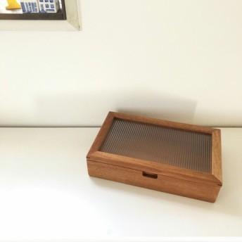 木製ジュエリーボックス/マホガニー・和ガラス調