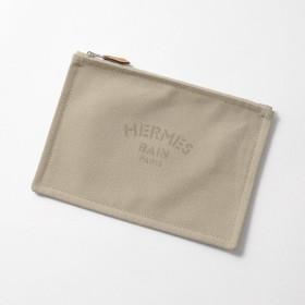 HERMES エルメス TROUSSE FLAT PM YACHTING M フラットポーチ キャンバス ブランドBOX+ショッパー付き 03/GRIS-PONCE レディース