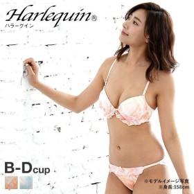 (ハラークイン)Harlequin マーブルプリント リボン 3/4カップ ブラジャー ショーツ セット BCD
