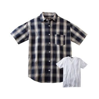 2点セット(後身刺しゅう入チェック柄半袖カジュアルシャツ+Tシャツ) カジュアルシャツ