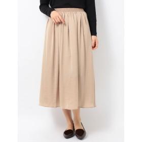 【5,000円以上お買物で送料無料】e サテンギャザースカート