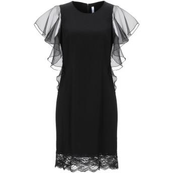 《セール開催中》PIANURASTUDIO レディース ミニワンピース&ドレス ブラック 38 アセテート 79% / レーヨン 18% / ゴム 3% / ポリエステル