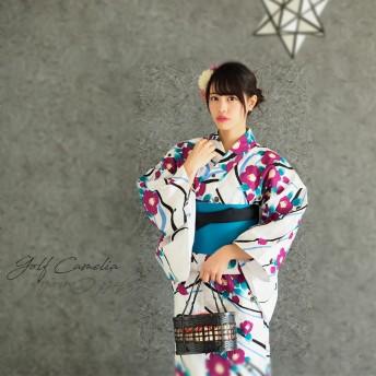 浴衣 - Ainokajitsu 女性浴衣 レディース浴衣 浴衣 単品 浴衣単品 仕立て上がり レディース 女性用 フリー 花 椿 ピンク 青 ストライプ 縞 お洒落