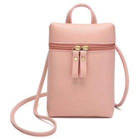 Mountain head 女性フェイクレザーミニ電話クロスボディバッグソリッドショルダーバッグ Mountain head (Color : Color Pink, Size : Onesize)