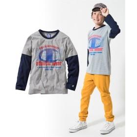Champion長袖フェイクレイヤードTシャツ(子供服 男の子。女の子 ジュニア服) Tシャツ・カットソー