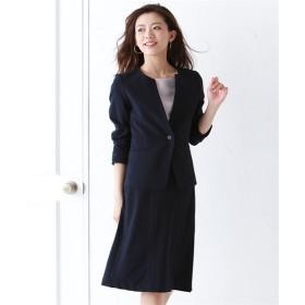 洗えるタテヨコストレッチスカートスーツ(キーネックノーカラージャケット+セミフレアスカート) (大きいサイズレディース)スーツ,women's suits ,plus size