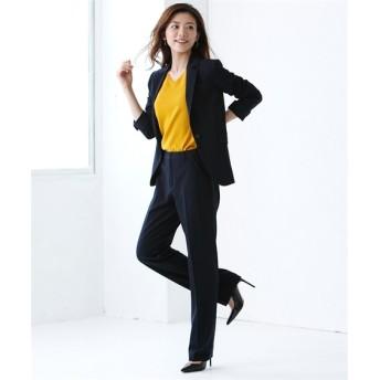 洗えるタテヨコストレッチパンツスーツ(テーラードジャケット+ストレートパンツ)【レディーススーツ】 (大きいサイズレディース)スーツ,women's suits ,plus size