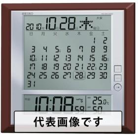 SEIKO 液晶マンスリーカレンダー機能付き電波掛置兼用時計 茶メタリック塗装 [SQ421B]  SQ421B 販売単位:1