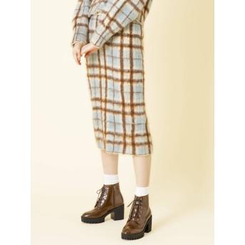 [dazzlin]BIGチェックニットミディタイトスカート