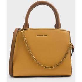 【2019 FALL 新作】チェーンリンク クラシックハンドバッグ / Chain Link Classic Handbag (Brown)