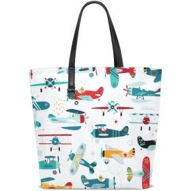 トートバッグ 飛行機 様々 かっこいい レデイース 手提げバッグ 両面 大容量 軽量 通勤 通学 旅行 高校生 女の子 革 A4 耐久性 人気 肩掛けバッグ