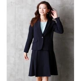 洗えるタテヨコストレッチスカートスーツ(テーラードジャケット+タックフレアスカート) (大きいサイズレディース)スーツ,women's suits ,plus size