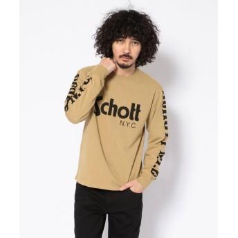 ショット LONG SLEEVE T SHIRT BASIC SCHOTT LOGO/ショット ロゴ 長袖Tシャツ メンズ KHAKI M 【Schott】