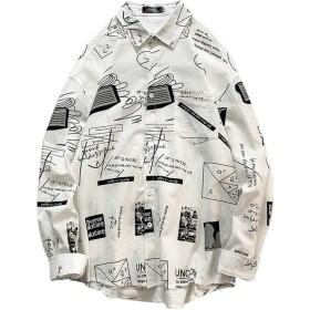MIMIPO シャツ メンズ 半袖 カジュアル スポーツ 綿 夏服 オシャレ ヒップシャツ ブラック ホワイト M-XL (White01-XL)