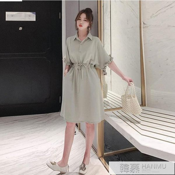 襯衫裙子女2019新款夏裝氣質顯瘦木耳邊收腰中長款雪紡襯衣連身裙