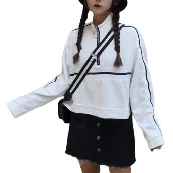 BeiBang(バイバン) レディース 長袖 トレーナー ショート丈 ゆったり Tシャツ カットソー 無地 プルオーバー 原宿系 可愛い トップス 白 黒(24白)