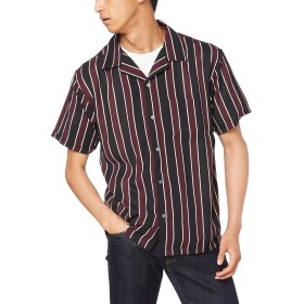 [ウィゴー] WEGO ダーク ストライプ 開襟 シャツ 半袖 M ブラック メンズ