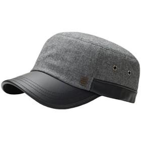 (ラオン) Raon G28フェイクレザーのつばスタイルビッグサイズアーミーキャップ士官候補生ミリタリーファッション帽子トラック運転手 (Black) [並行輸入品]