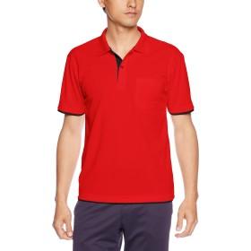 [グリマー] 半袖 4.4オンス ドライ レイヤード ポロシャツ [ポケット付] 00339-AYP レッド×ブラック LL (日本サイズLL相当)