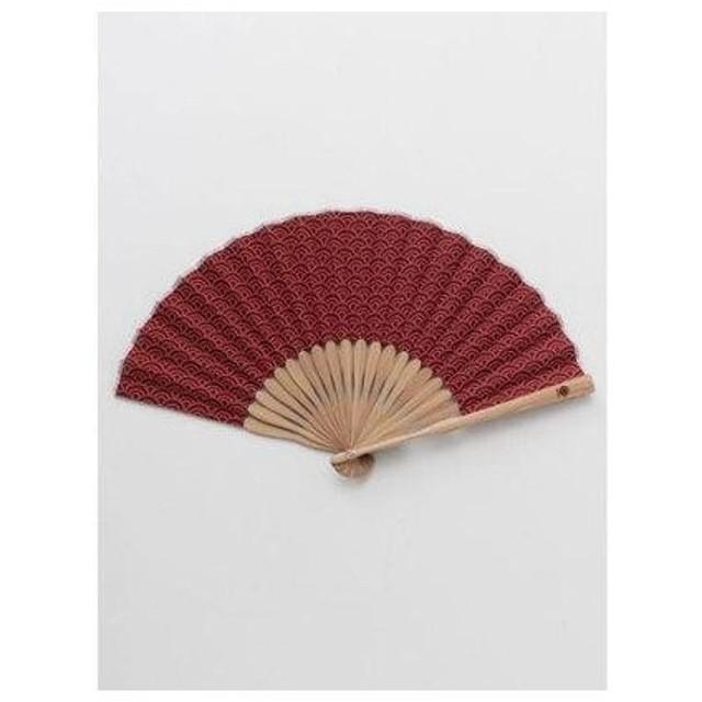 【カヤ】紳士用 丸青海波扇子 袋付き エンジ