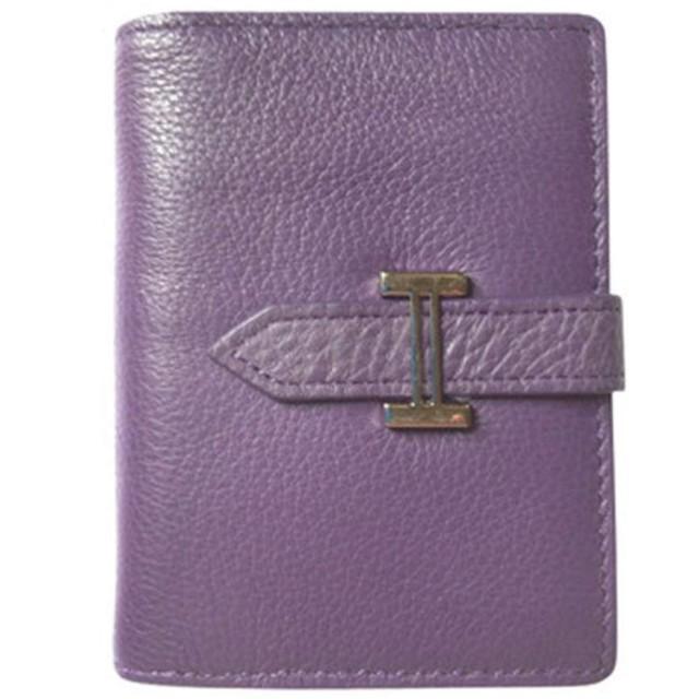 ファッション財布、 新しいファッションレディース財布レザーカードホルダーカードセットカジュアルトップレイヤーレザーチケットホルダー (Color : Purple, Size : S)
