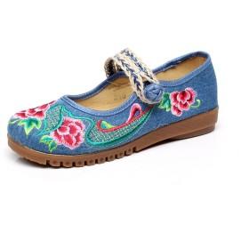 [xichengshidai] 中国の刺繍靴中国のスタイル刺繍のキャンバスシューズダンスシューズ