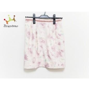 アプワイザーリッシェ スカート サイズ2 M レディース 美品 ピンク×アイボリー×マルチ 花柄 新着 20190809