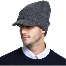 RIONA つば付き ニット帽 メンズ ウール 100% 秋 冬 大きいサイズ ニットキャスケット 帽子 グレー 56cm 57cm 58cm 59cm 60cm 61cm 62cm
