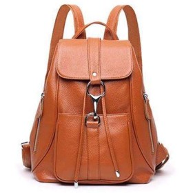 YangTrade 韓国語バージョン牛革女性カジュアルショルダーバッグファッション百ソフトレザーバックパックレザー女性バッグ (Color : D, サイズ : M)