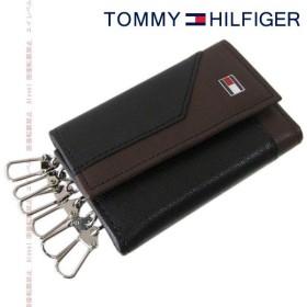 トミーヒルフィガー TOMMY HILFIGER キーケース ブラック×ダークブラウン 31TL17X001-014 0094 4154 01 名入れ可有料 ※名入れ別売り