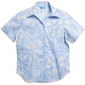 [MAJUN (マジュン)] 国産シャツ かりゆしウェア アロハシャツ 結婚式 レディース シャツ スキッパー シェフレラライン ブルー M