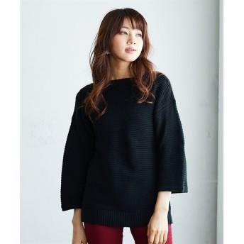 ボートネック7分袖ニット (ニット・セーター)(レディース),Knitting