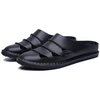 [URLATEST] サンダル メンズ ブラック カジュアル サボサンダル スリッポンサンダル 歩きやすい 通気 柔らかい 幅広 人気 ファッションサンダル 26cm