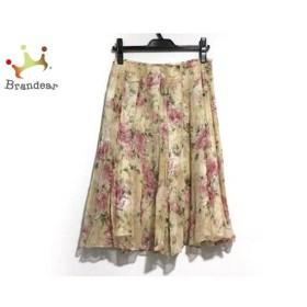 フランコフェラーロ スカート サイズ3 L レディース 美品 ベージュ×ピンク×マルチ シルク/花柄 新着 20190809