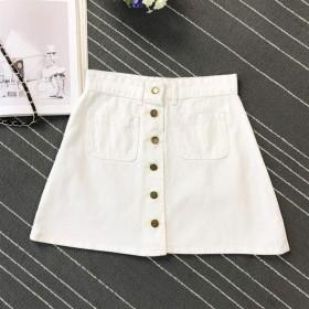 Anyzhantrade 女性デニムショートスカート、ポケット付きハイウエストAラインスカート (Color : 白, サイズ : XXL)
