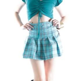 プリーツチェックミニスカート 7503bs ブルー