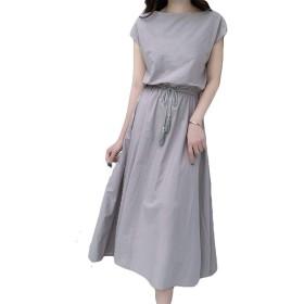 Semo1mus ワンピース レディース ドレス ロング ワンピース ロングスカート ワンピース森ガール 体型カバー 大きいサイズ 夏 シンプル ゆったり 無地 ベルト付き 半袖 丸首 綿麻 オフィス フォーマル カジュアル グレーM