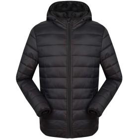 メンズ ダウンジャケット ダウン コート 軽量 防風 防寒 暖かい フード付き ブラック XL