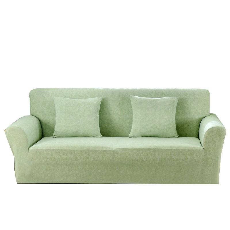 [送枕套壓條] 純色綠色亞麻紋現代簡約沙發套 萬能彈力通用款沙發巾 單人雙人三人四人尺寸沙發套