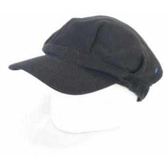 【中古】ポールスミスジーンズ Paul Smith JEANS キャスケット キャップ 帽子 綿100% 無地 ブラック 黒 F