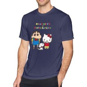 Tシャツ メンズ ハローキティ×クレヨンしんちゃん 半袖 綿 クルーネック プリント おしゃれ 通勤 通学 夏季対応 メンズファッション