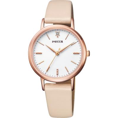 CITIZEN 星辰 WICCA 廣告款太陽能牛皮腕錶-玫瑰金X米 KP5-166-10